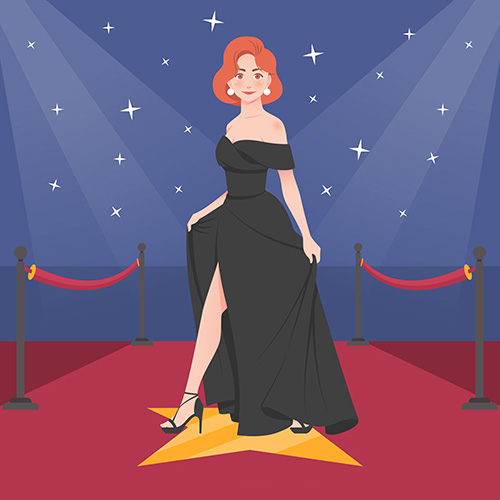 a woman on the red carpet